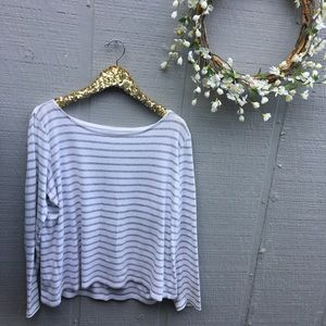 EILEEN FISHER gray and white striped top. Large.